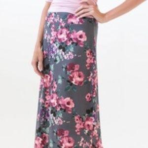 Agnes & Dora Side-slit Maxi Skirt, XXS, Tween Gray